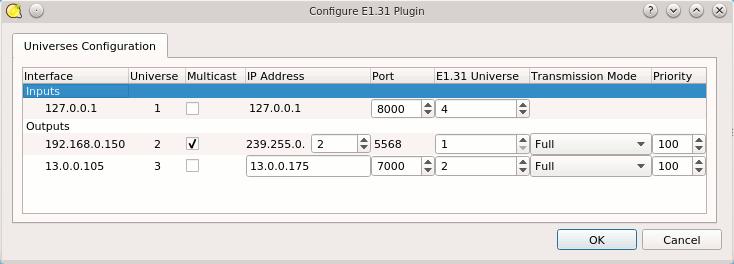 Q Light Controller Plus - E1 31 Plugin